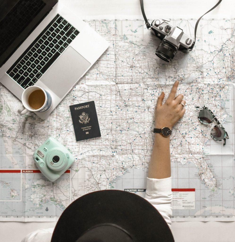 Grote kaart met grote afstanden