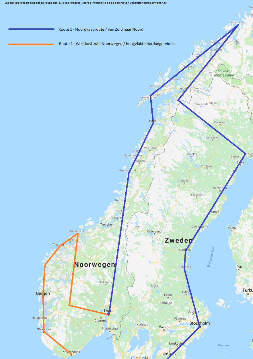 Camper routes Noorwegen