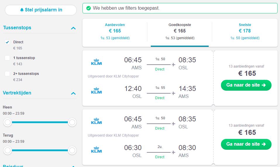 Prijzen vluchten naar Noorwegen