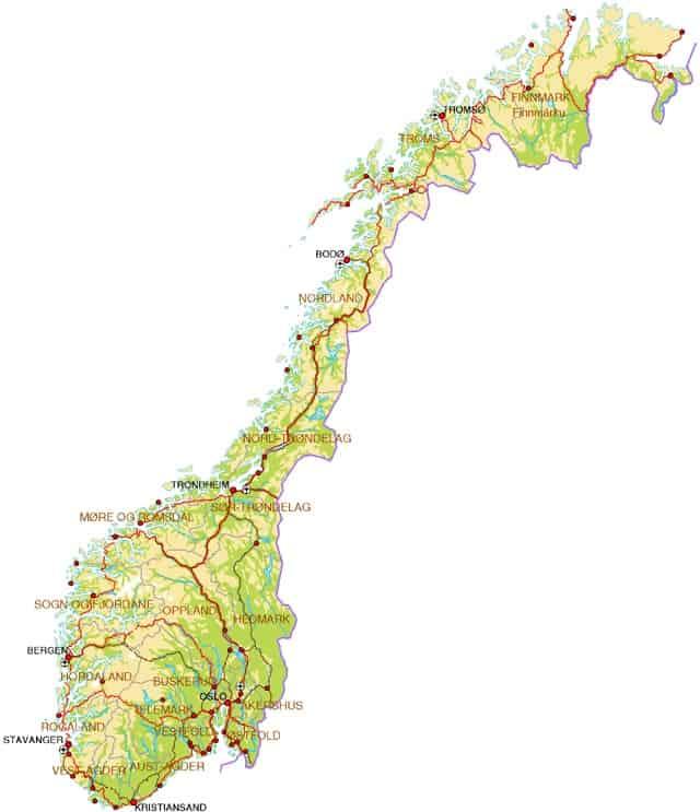 Normale landkaart van Noorwegen