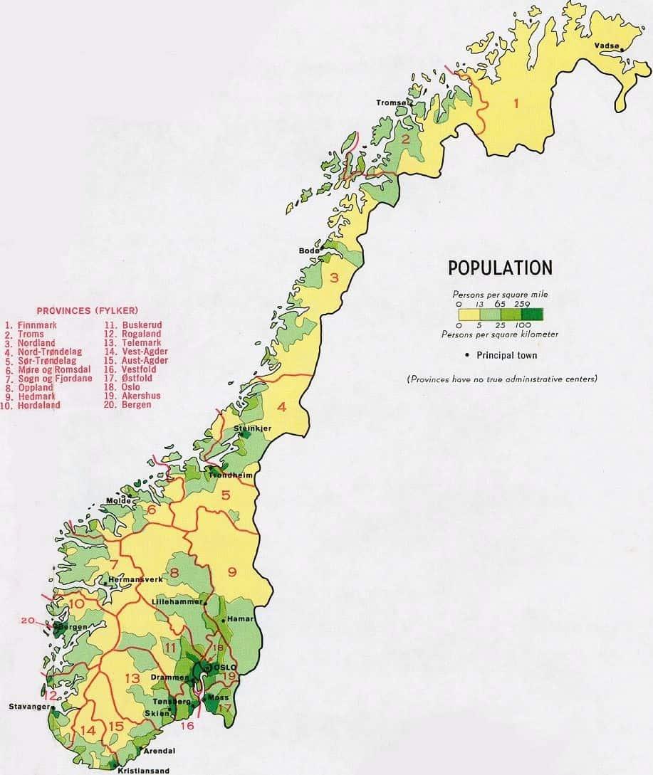 Kaart demografie/bevolking Noorwegen
