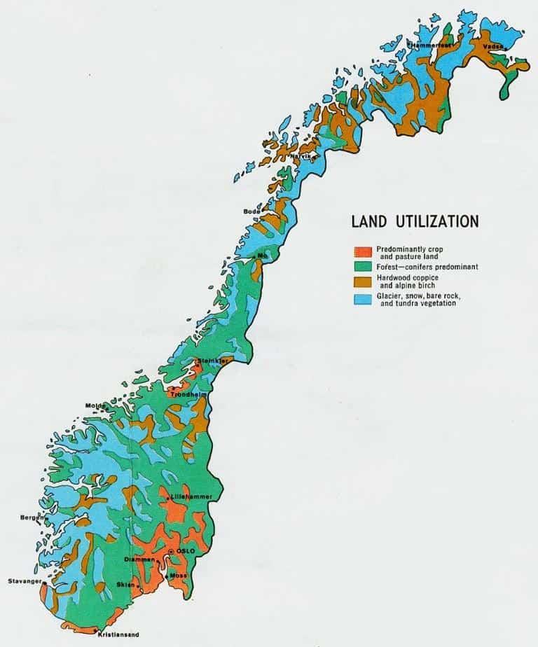 Natuur overzichtskaart Noorwegen
