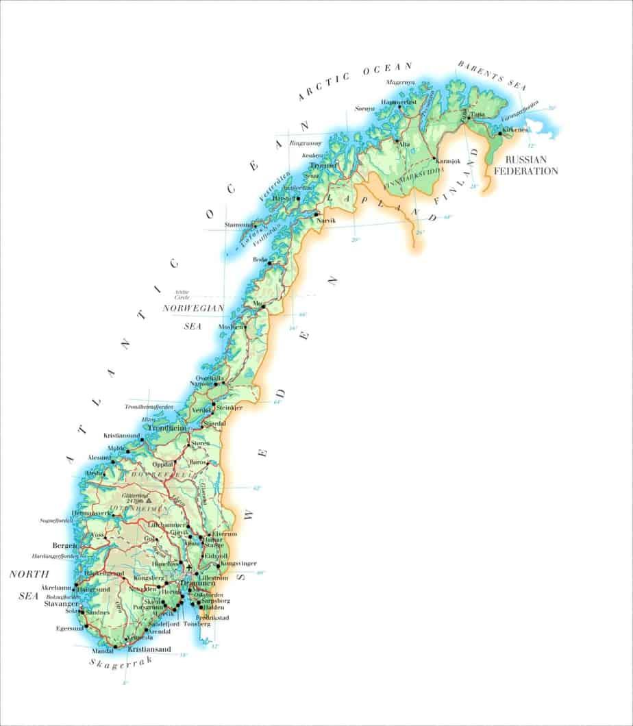 Toeristische kaart van Noorwegen