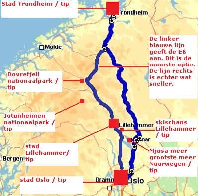 Rondreis Noorwegen route 1 deel 1