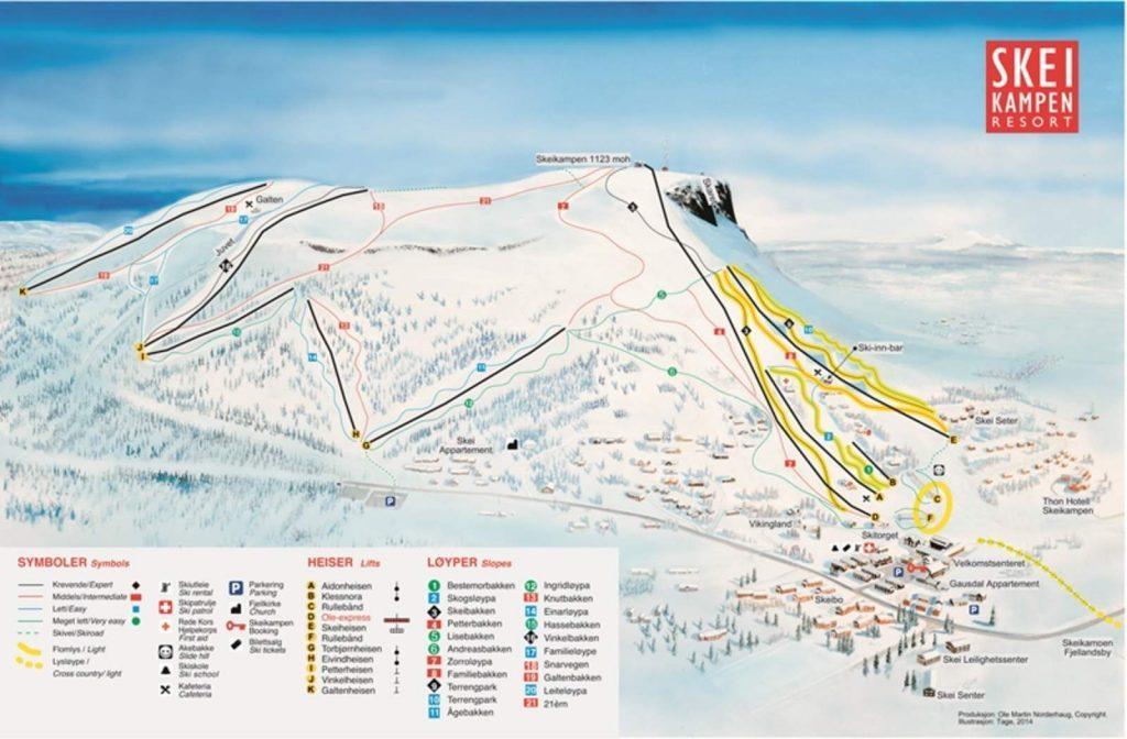 skeikampen ski kaart