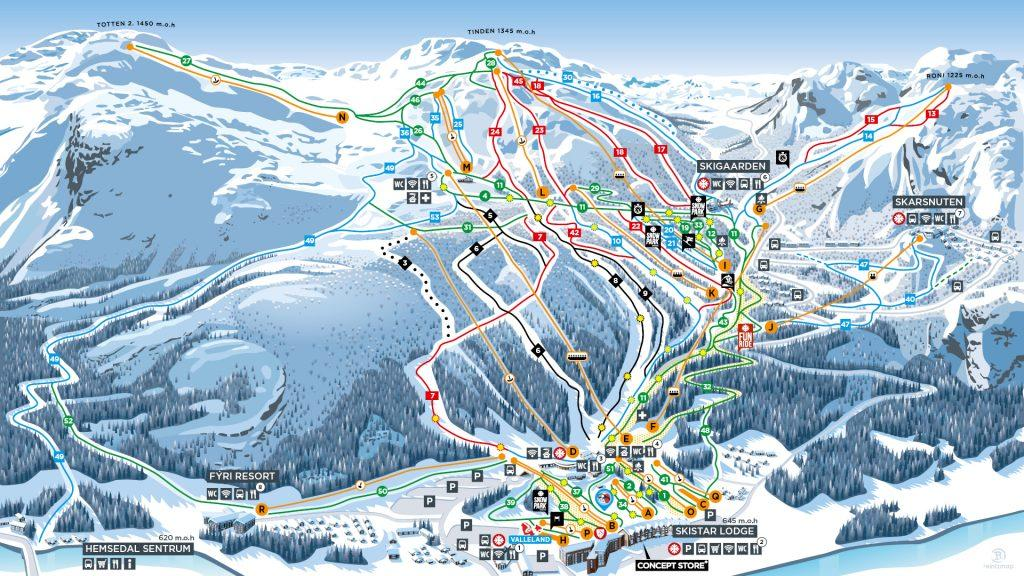 ski kaart hemsedal