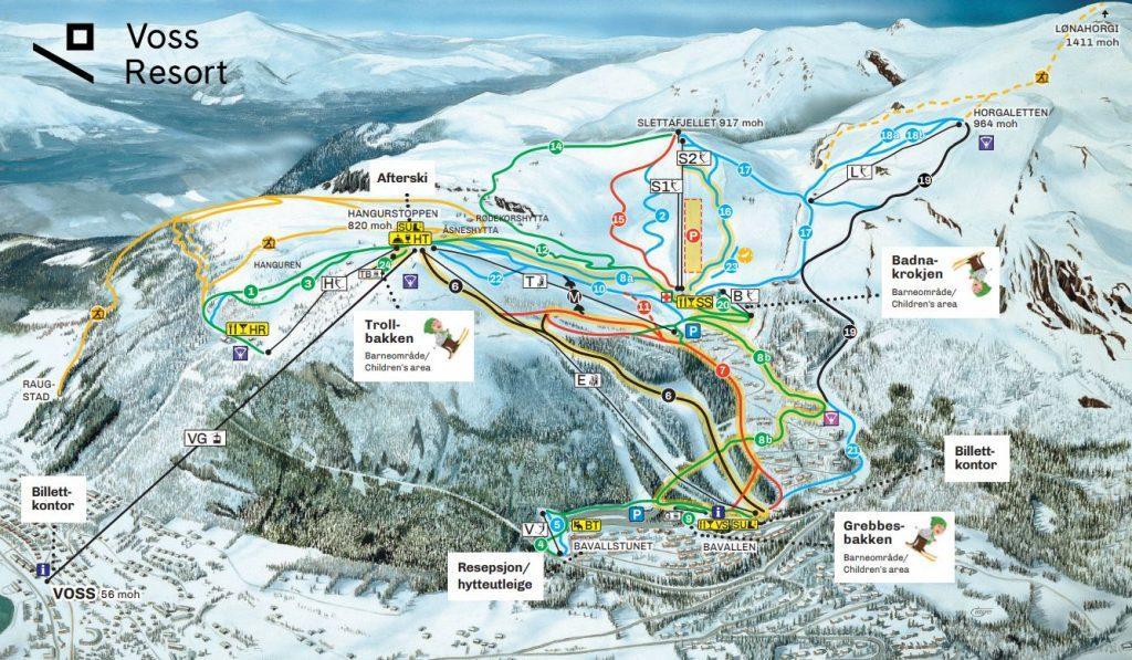 voss kaart ski gebied